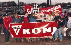 The 74 team celebrate an Eastern States 358 Modified victory at OCFS!
