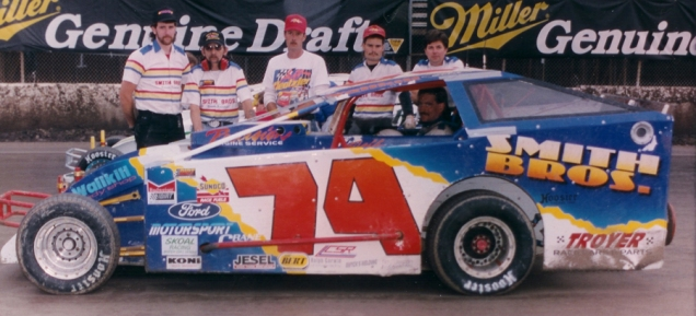"""The Jeffer"" and the Smith Bros. 74 team on the grid at Syracuse."