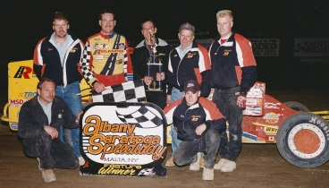 """The Jeffer"" and the Reclamation crew celebrate a win at the Albany-Saratoga Speedway."