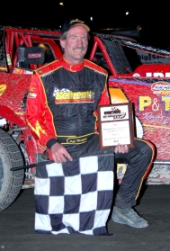 """The Jeffer"" in victory lane at OCFS aboard the Atlas Paving 66."