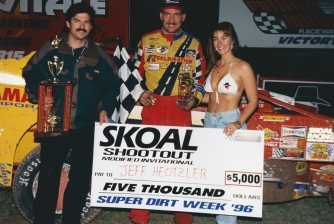 """""""The Jeffer"""" in victory lane at the Rolling Wheels Raceway."""