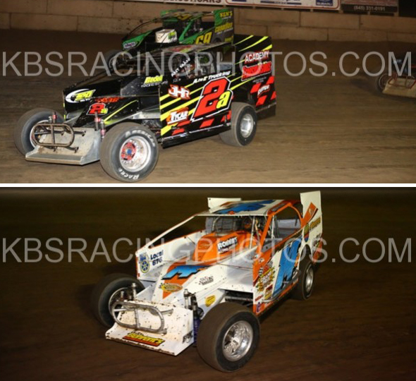 Jeff Heotzler (2a) and Jeff Heotzler, Jr. (14H) at the Accord Speedway on August 29th, 2014.