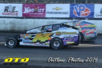 The Jeffer Jeff Heotzler drag races Billy Decker down the front stretch during the Syracuse 200