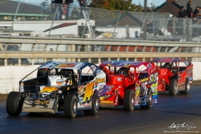 The Jeffer leads Kenny Tremont down the backstretch at the Mile during the Syracuse 200