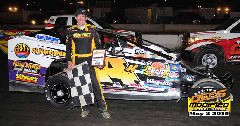 Jeff Heotzler wins his 49th big block modified feature at the Orange County Fair Speedway on May 2nd, 2015 in the Roberts Racing 14H TEO Pro Car!