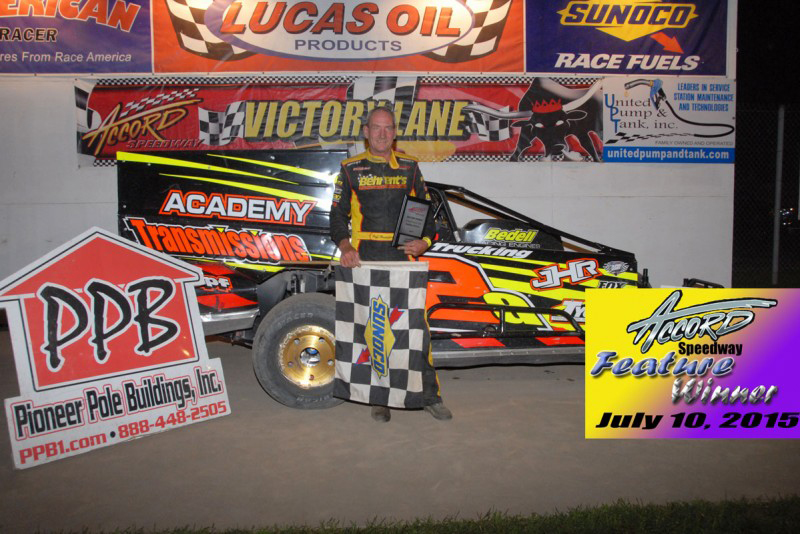 The Jeffer Jeff Heotzler wins his 51st career Accord Speedway modified feature win on July 10th, 2015 in the Academy Transmissions 2a TEO Pro Car.