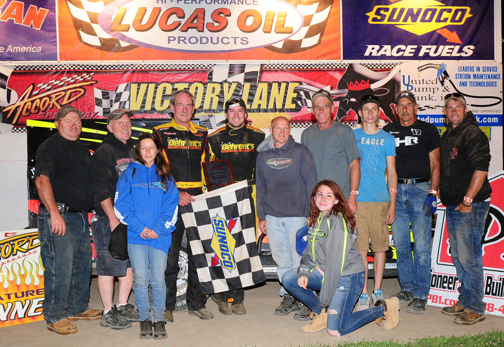 The Jeffer Jeff Heotzler Wins His 2nd Feature Event in a Row at the Accord Speedway on August 1, 2015. It was his 53rd Accord Win of his Career!