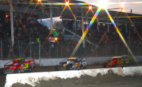 Jeff Heotzler and the other leaders of the 2015 Eastern States 200 on a restart.