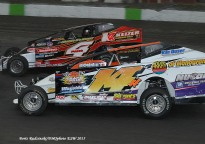 Jeff Heotzler battles Tim McCreadie in the Eastern States 100 at the Orange County Fair Speedway!