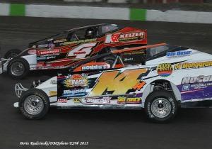 Jeff Heotzler battles Tim McCreadie in the Eastern States 100 at the Orange County Fair Speedway!