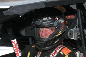 """""""The Jeffer"""" Jeff Heotzler buckles in for the start of the 2015 Eastern States 200 at the Orange County Fair Speedway!"""