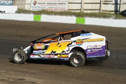 """The Jeffer"" Jeff Heotzler during 358 Modified Time-Trials at the Orange County Fair Speedway!"