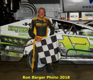 Jeff Heotzler scores his 52nd career modified victory at the historic Orange County Fair Speedway on June 9, 2018.